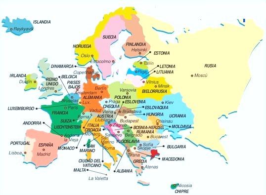 Mapa de Europa con nombres
