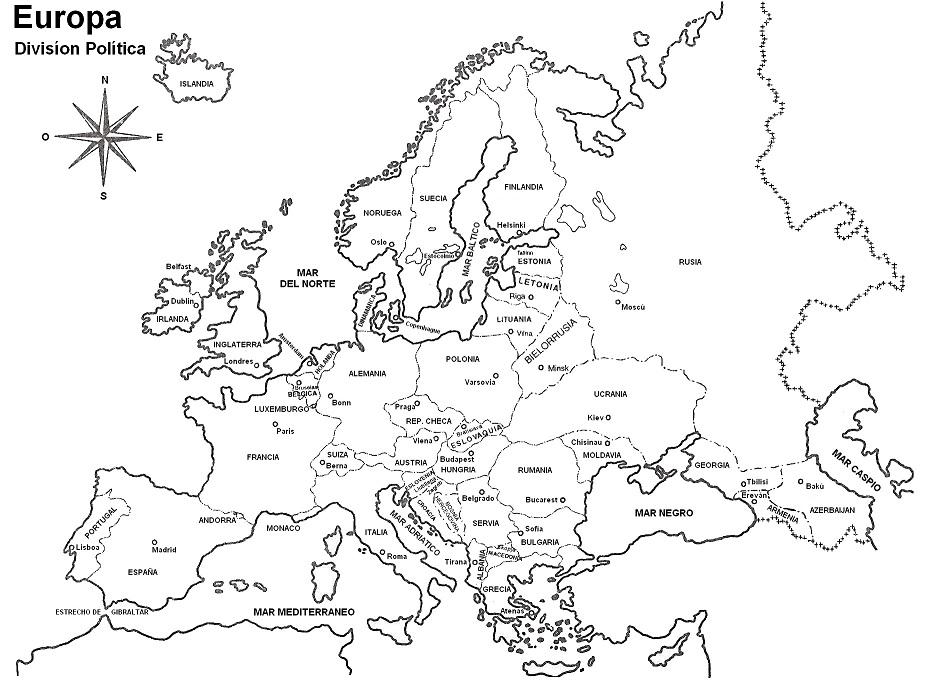 Mapa de Europa para colorear - Mapa de Europa