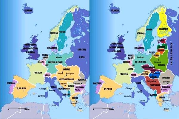 Mapa de Europa antes y después de la Primera Guerra Mundial
