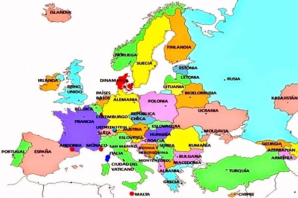 Mapa de Europa despus de la cada del Muro de Berln  Mapa de Europa