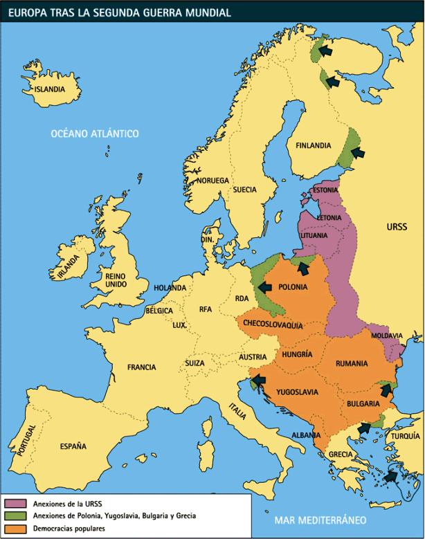 Mapa después la segunda Guerra mundial