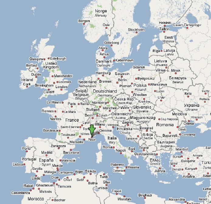 Mapa de aeropuertos de Europa