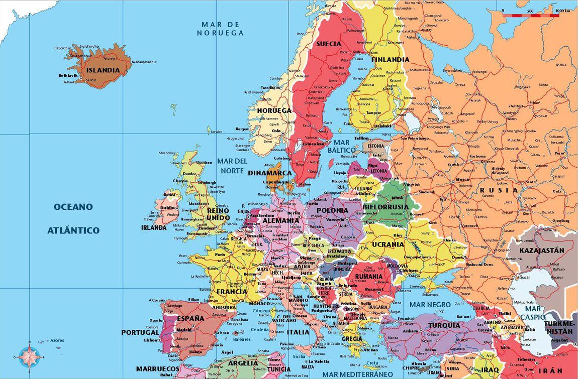 Mapa de Europa con división política