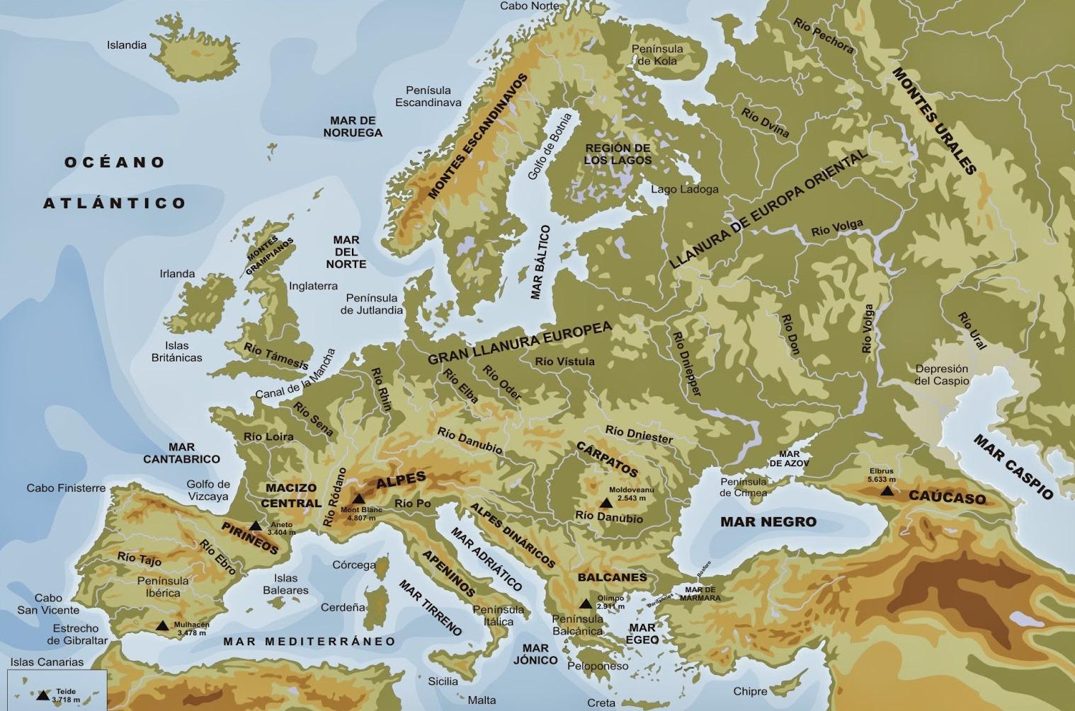 Mapa de montañas y llanuras de Europa