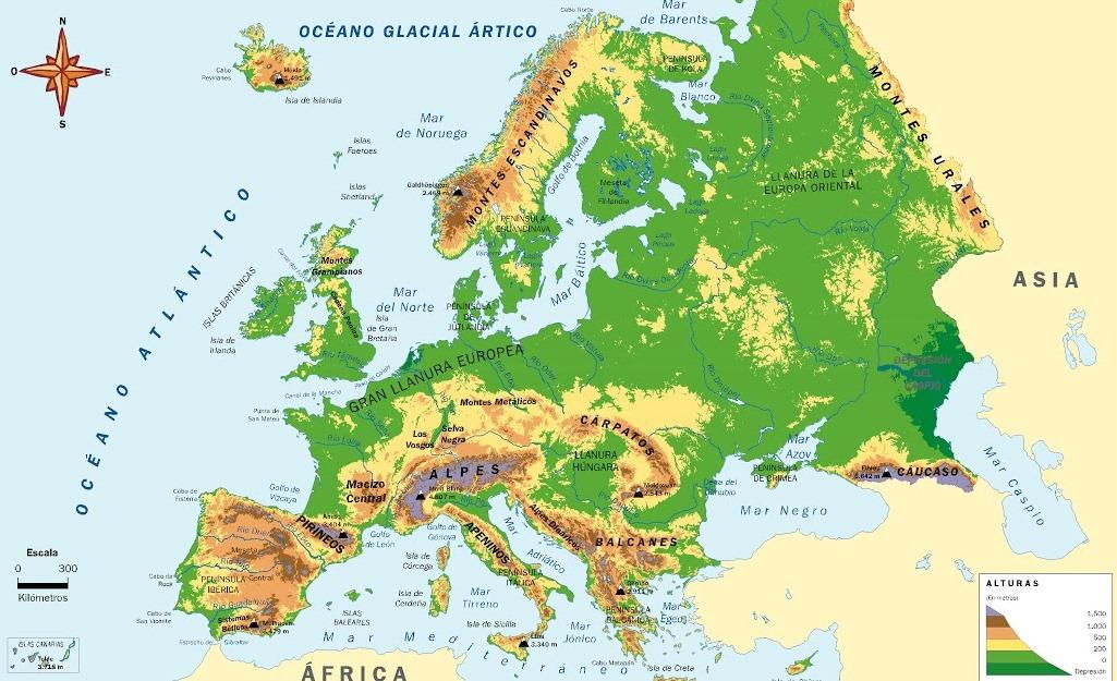 Mapa de relieve de Europa