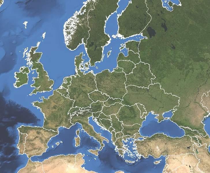 Mapa satelital de Europa