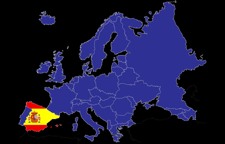 Ubicación de España en el mapa de Europa